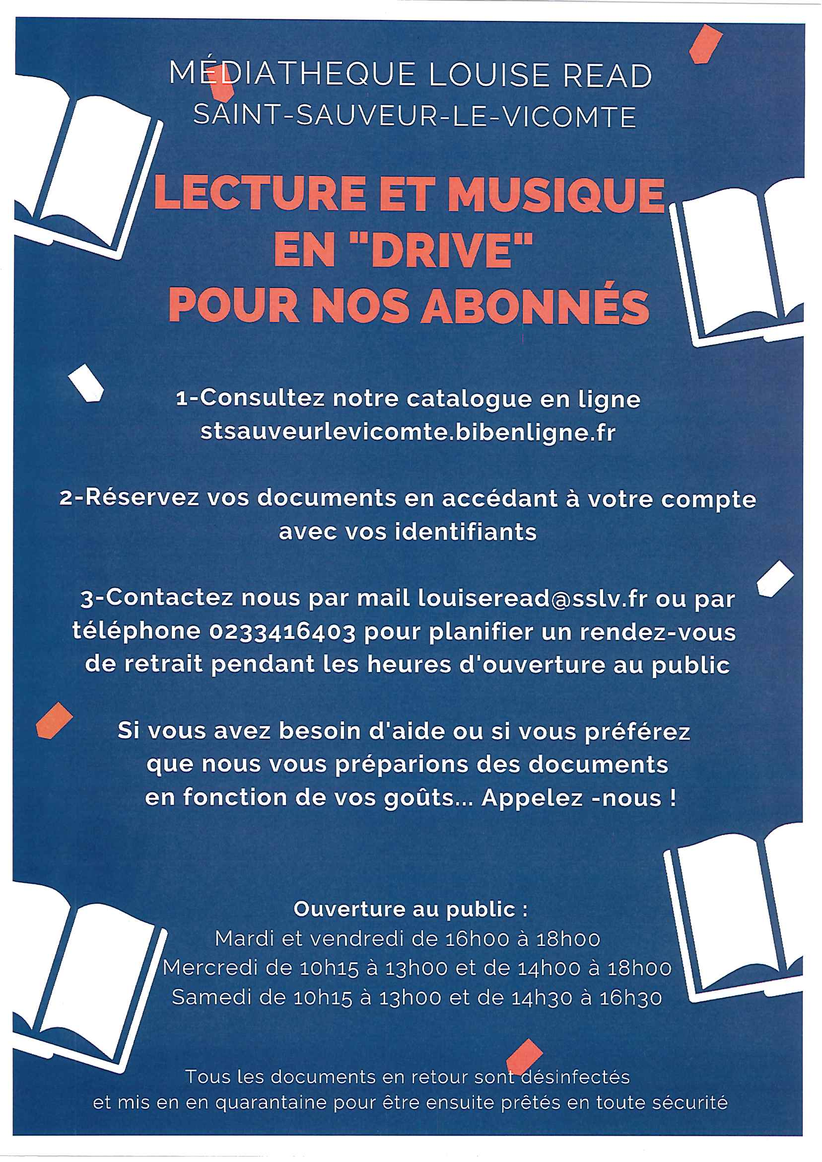 Médiathèque Louise Read – Lecture et musique en «Drive»