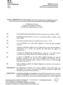 Arrêté n° 2020/SIDPC/71 portant obligation de port du masque dans le département de la Manche à l'occasion des marchés, foires à tout, vide-greniers, brocantes et braderies