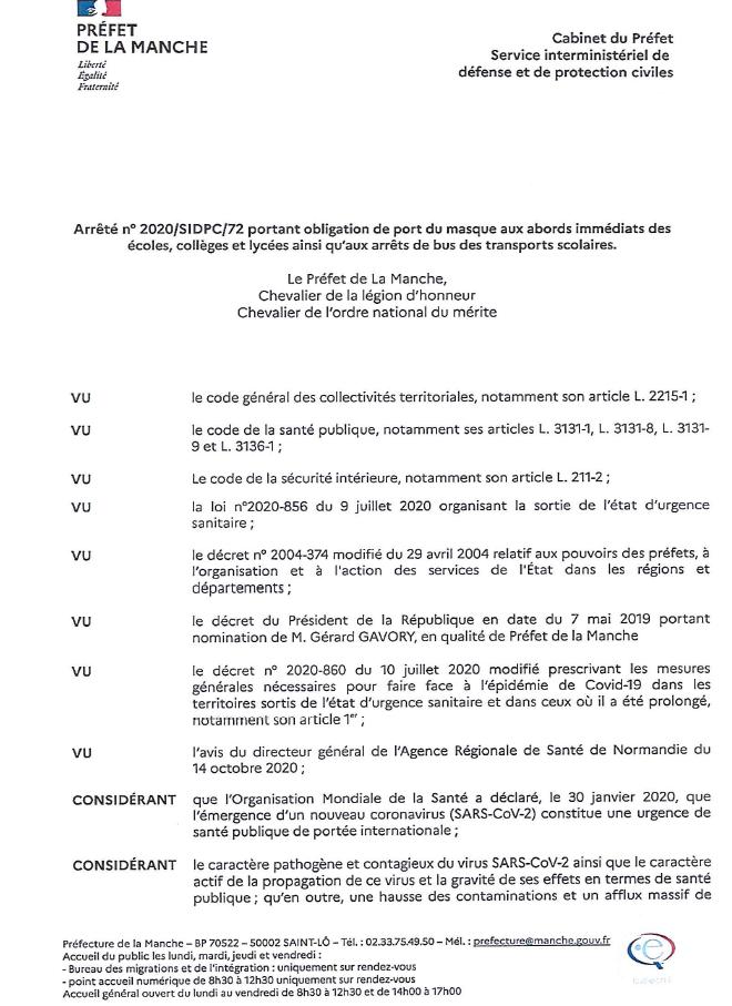 Arrêté n° 2020/SIDPC/72 portant obligation de port du masque aux abords immédiats des écoles, collèges et lycées ainsi qu'aux arrêts de bus des transports scolaires.