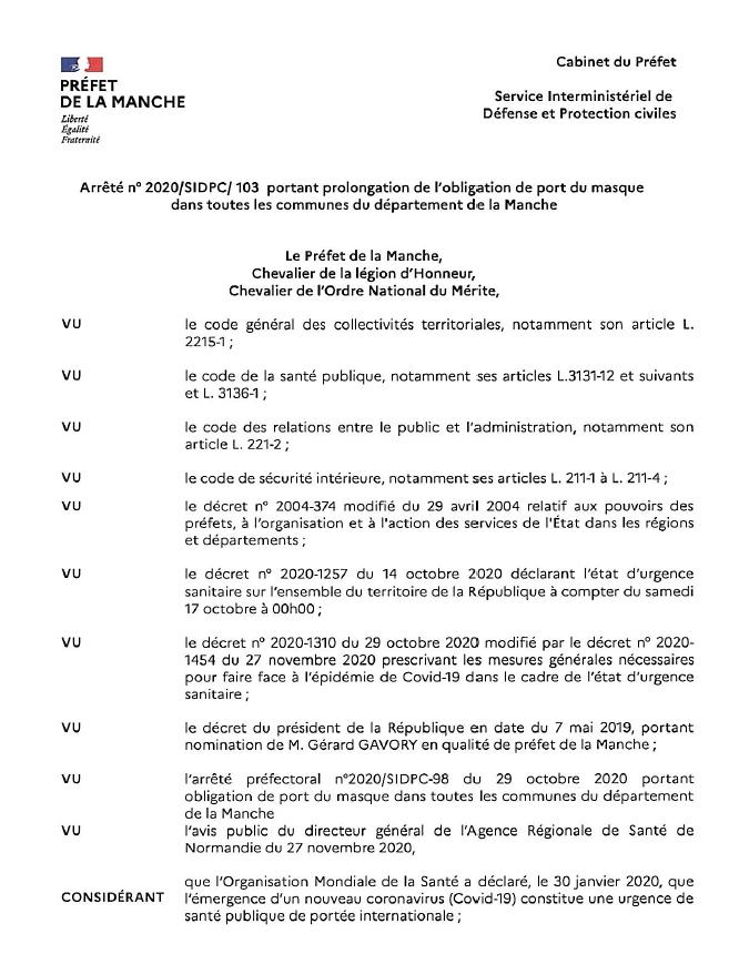 Le Port du Masque obligatoire jusqu'au 20 janvier 2021