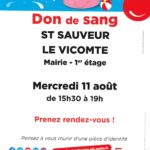 DON de sang – Mercredi 11 août 15h30 à 19h (sur rendez-vous !)